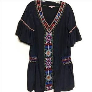 Calypso St. Barth 100% Silk Embroidered Dress